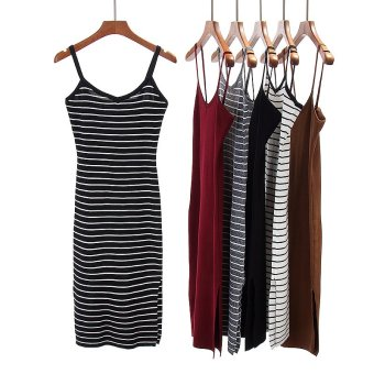 Korean-style knitted spring and summer New style dress (Blackstripes)