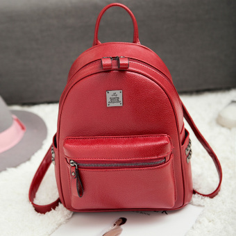 Korean-style Leather female mini small bag backpack (Wine red color)