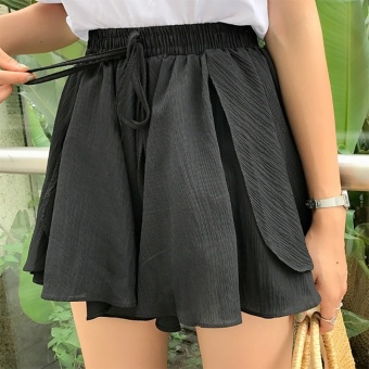 Korean-style loose Slimming effect shorts wide leg pants (Black)