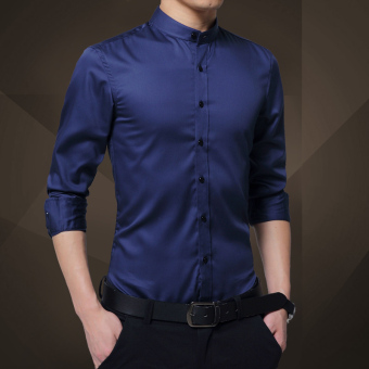 Korean-style male long-sleeved men's jacket shirt (Dark blue color)