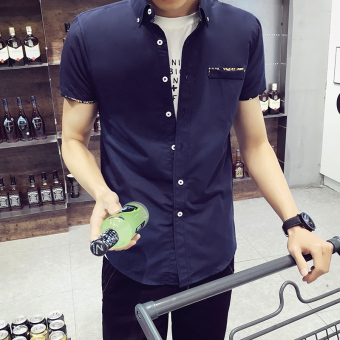 Korean-style men's short sleeve student Teenager white shirt (Dark blue color [DS02])