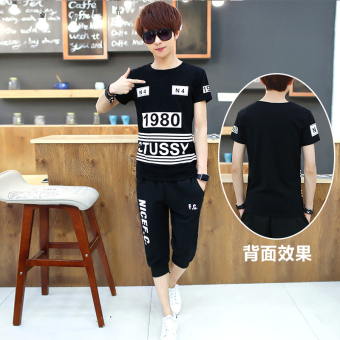 Korean-style mercerized cotton boy's junior high school summer short sleeved t-shirt (Capri pants 1980)