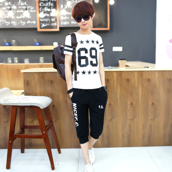 Korean-style mercerized cotton boy's junior high school summer short sleeved t-shirt (Capri pants 69 white)