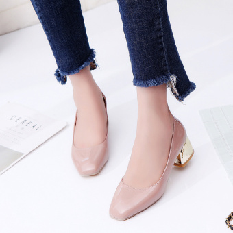 Korean-style metal autumn New style thick with high-heeled shoes (Pink color) (Pink color)
