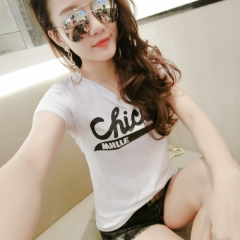 Korean-style New style Slim fit black Top (072 (white))