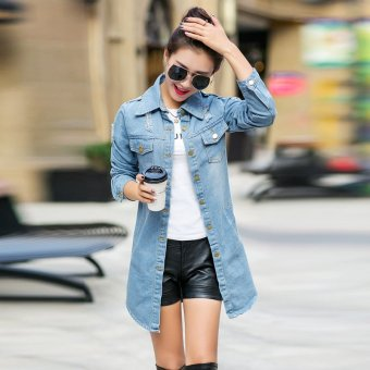 Korean-style New style Slim fit Slimming effect Top denim coatjacket (Light blue)