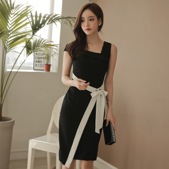 Korean-style New style spring and summer oblique dress