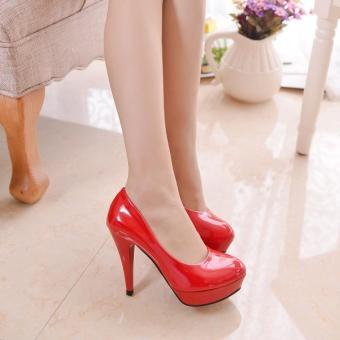 Korean-style patent leather round thin heeled semi-high heeled shoes Shoes (Red)