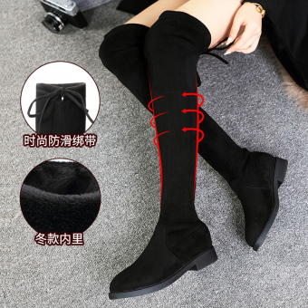 Korean-style Plus velvet female lace boots over-the-knee boots (Women's + Winter style Plus Velvet)