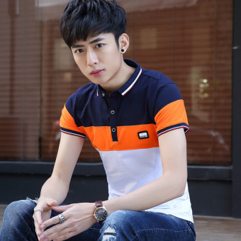 Korean-style Slim fit striped youth polo shirt T-shirt (White) (White)
