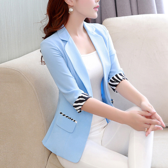 Korean-style Slim fit three-quarter-length sleeve Plus-sized suit short jacket (Water blue)