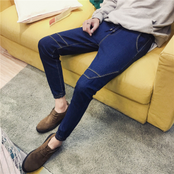 Korean-style Slim Fit Youth skinny pants men's jeans (102 # beam foot blue)