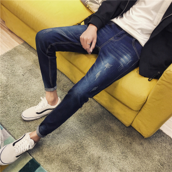 Korean-style Slim Fit Youth skinny pants men's jeans (Blue)