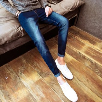 Korean-style Slim Fit Youth skinny pants men's jeans (Blue Ma Liu)