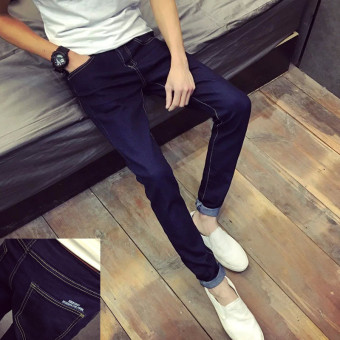 Korean-style Slim Fit Youth skinny pants men's jeans (Dark blue color after English)