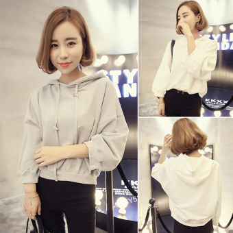 Korean-style solid New style loose hedging hoodie (Gray)