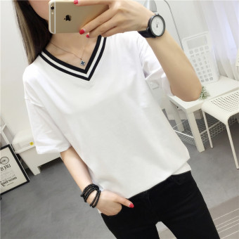 Korean-style solid New style Slim fit Top (White)