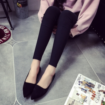 Korean-style spring and New style pointed flat shoes (Black)