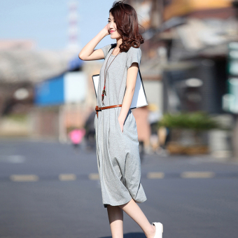 Korean-style spring and summer New style cotton short sleeved dress