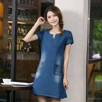 Korean-style spring and summer New style embroidered denim dress (Blue)