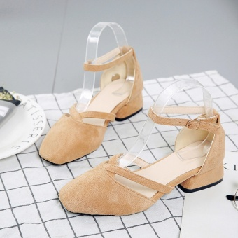 Korean-style suede buckle square head work shoes matte high-heeled shoes (Khaki)