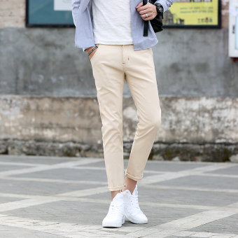 Korean-style Thin Men's casual pants ankle-length pants (Khaki)