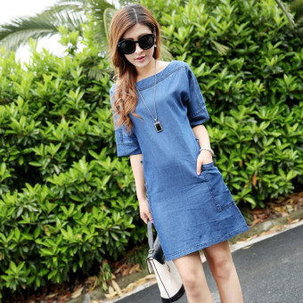 Korean-style thin section Loose and plus-sized denim dress Sleeve