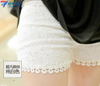 Lace three points Safety pants anti emptied summer thin sectionouter wear leggings Pants pants female insurance pants Plus-sized(White)