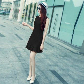 Ladies New style Slim fit Slimming effect fishtail sexy dress(Black)