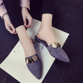 Lazy Korean-style female Flat pointed slipper shoes Baotou slippers (Gray) (Gray)