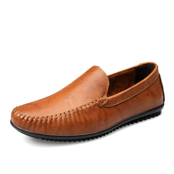 Leather men foot covering everyday dad shoes moccosins (Shallow brown) (Shallow brown)