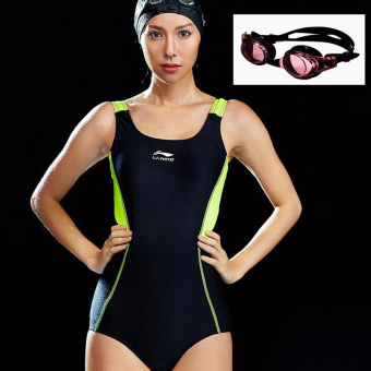 LI-NING sexy New style push up swimsuit (240 black flourescent green)