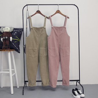 LOOESN casual spring New style slimming suspender pants (Khaki)
