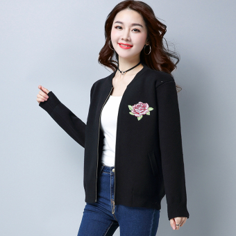 LOOESN knitted female zip long-sleeved small cardigan Top (Black)