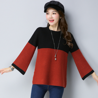 LOOESN Korean-style female Plus-sized short sweater horn sleeve sweater (Black)