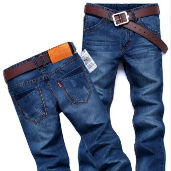 LOOESN Korean-style men's youth pants men's jeans (620 # Blue)