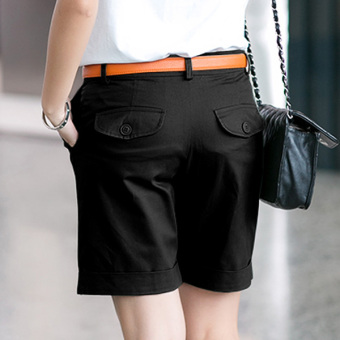 LOOESN Korean-style new slimming Plus-sized harem pants shorts (Black)