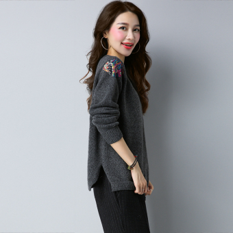 LOOESN Korean-style patch pullover female sweater New style sweater (Dark gray color)