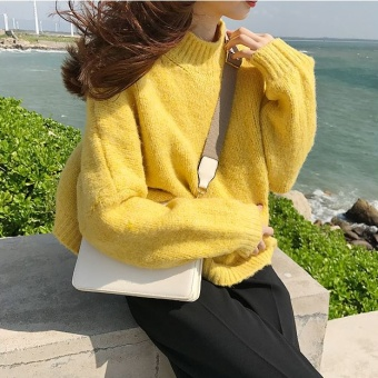 LOOESN Korean-style Tu Rong female long-sleeved sweater pullover sweater (Yellow)