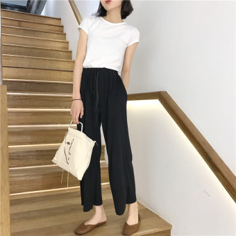 LOOESN Korean-style women high-waisted student casual pants wide leg pants (Classic black)