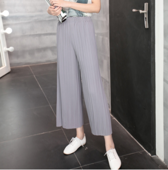 LOOESN linen gray slimming summer ankle-length pants maternity pants (Light gray color)