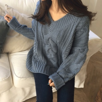 LOOESN retro female long-sleeved v-neck sweater Qiudong New style sweater (Lake Blue)