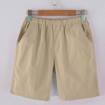 Loose female Plus-sized student pants shorts (Beige) (Beige)