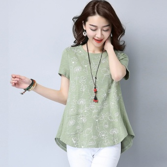 Loose Korean-style female New style mid-length T-shirt cotton Top (Green)