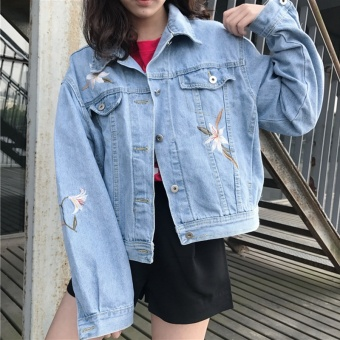 Loose Korean-style light-colored flowers embroidered student short denim clothing