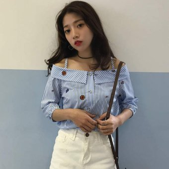 Loose Korean-style slimming off-the-shoulder horizontal neck striped shirt