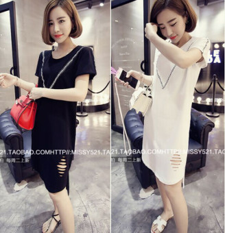 Loose Korean-style spring and summer New style slimming T-shirt (White) (White)