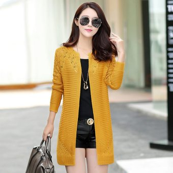 Loose New style mid-length knitted shirt (K8810 ginger yellow) (K8810 ginger yellow)