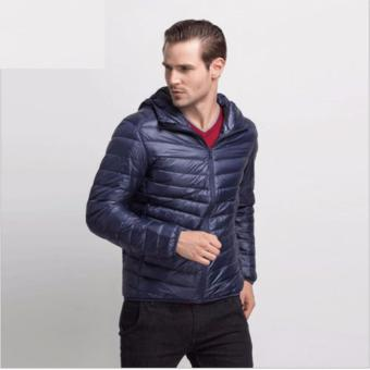 Man Ultra Light Duck Down Jacket With Hood- D1 Navy