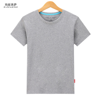 Manuxisa cotton black and white gray Plus-sized men's base shirt solid color short sleeved t-shirt (Solid color-gray) (Solid color-gray)